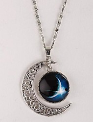 cheap -Women's Pendant Necklace Galaxy Crescent Moon i love you to the moon and back Cheap Magic Stylish Simple Dangling Alloy Silver Necklace Jewelry For Gift Causal Daily Holiday