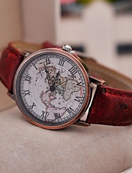 cheap -Women's Wrist Watch World Map Quartz Quilted PU Leather Black / Red / Brown Casual Watch Analog Ladies Vintage Fashion World Map - Black Brown Red One Year Battery Life / Tianqiu 377