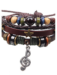 cheap -Men's Women's Couple's Chain Bracelet Charm Bracelet Wrap Bracelet Layered Crossover Stacking Stackable Music Star Music Notes Ladies Personalized Vintage Punk European Leather Bracelet Jewelry Brown