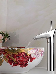 cheap -Bathroom Sink Faucet - Waterfall Chrome Vessel One Hole / Single Handle One HoleBath Taps