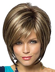cheap -Synthetic Wig Straight Straight Bob Pixie Cut With Bangs Wig Short Brown With Blonde Synthetic Hair Women's Brown