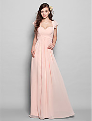 cheap -A-Line Sweetheart Neckline Floor Length Chiffon Bridesmaid Dress with Draping / Ruffles / Ruched