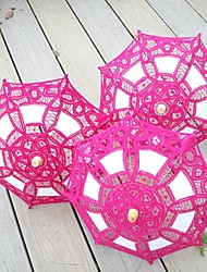 cheap -Vintage Handmade Small Lace Fabric Embroidered Parasol Flower Girl Umbrella Party Baby Shower Decorative(More Colors)