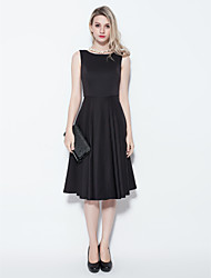 cheap -Ball Gown Cocktail Party Dress Jewel Neck Sleeveless Knee Length Cotton with 2021