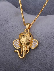 cheap -AAA Cubic Zirconia Pendant Necklace Necklace Elephant Animal Ladies Vintage Party Work Zircon Cubic Zirconia Platinum Plated Gold Silver Necklace Jewelry For