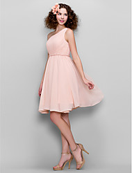 cheap -A-Line One Shoulder Knee Length Chiffon Bridesmaid Dress with Side Draping