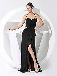 cheap -Sheath / Column Formal Evening Dress Sweetheart Neckline Sleeveless Floor Length Chiffon with Criss Cross 2021
