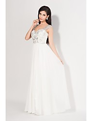 cheap -Sheath / Column Formal Evening Dress Straps Sleeveless Floor Length Chiffon with Beading Embroidery 2021