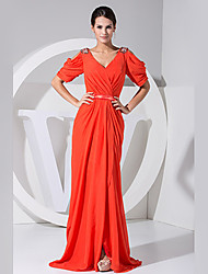 cheap -A-Line Formal Evening Dress V Neck Half Sleeve Floor Length Chiffon with Beading 2021
