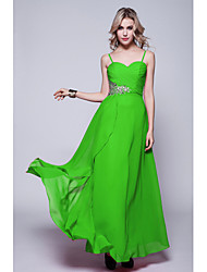 cheap -Sheath / Column Formal Evening Dress Spaghetti Strap Sleeveless Floor Length Chiffon with Criss Cross Sequin 2020