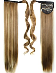 cheap -high quality synthetic 24 inch long clip in ponytail straight hair piece