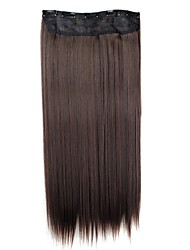 cheap -24 inch 120g long synthetic hairpiece straight clip in hair extensions with 5 clips