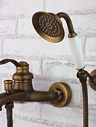 cheap -Shower Faucet - Antique Antique Brass Tub And Shower Ceramic Valve Bath Shower Mixer Taps / Single Handle Three Holes