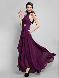 cheap -A-Line High Neck Asymmetrical Chiffon Bridesmaid Dress with Bow(s) / Draping / Crystal Brooch / Open Back