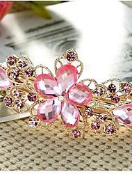 cheap -Women's Ladies Barrettes For Wedding Daily Flower Flower Crystal / Rhinestone Rhinestone Artificial Gemstones Purple Pink Green / Coffee / Blue / Alloy