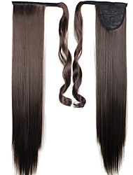 cheap -Dark Brown Straight Ponytails Synthetic Hair Piece Hair Extension
