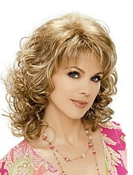 cheap -Synthetic Wig Curly Style With Bangs Wig Blonde Brown With Blonde Synthetic Hair Women's Blonde Wig Medium Length