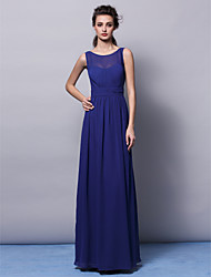 cheap -Sheath / Column Jewel Neck Floor Length Chiffon Bridesmaid Dress with Draping / Sash / Ribbon / Ruched / Open Back