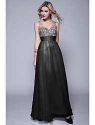 cheap -Sheath / Column Formal Evening Dress Straps Sweetheart Neckline Sleeveless Floor Length Chiffon with Sequin 2020