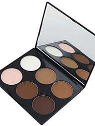 abordables -6 couleurs Poudres Poudre Bronzeurs Sec / Mat Visage Maquillage Cosmétique