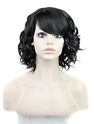 cheap -Synthetic Wig Curly Curly With Bangs Wig Synthetic Hair 16 inch Women's Black