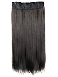 cheap -Human Hair Extensions Straight Classic Synthetic Hair 24 inch Hair Extension Clip In / On Black Women's Daily