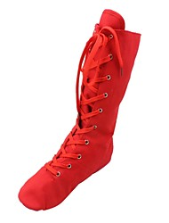 cheap -Women's Dance Shoes Jazz Shoes / Ballroom Shoes / Line Dance Boots Split Sole Lace-up Flat Heel Black / White / Red / EU43