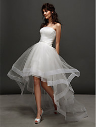 cheap -A-Line Strapless Asymmetrical Tulle Strapless Little White Dress Made-To-Measure Wedding Dresses with Beading / Ruched 2020