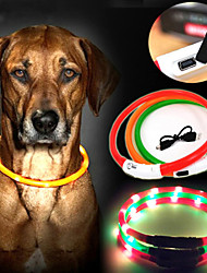 cheap -Dog Collar LED Lights Rechargeable Nylon Yellow Red