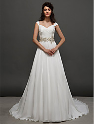 cheap -A-Line Sweetheart Neckline Chapel Train Chiffon Cap Sleeve Made-To-Measure Wedding Dresses with Beading / Sash / Ribbon / Ruched 2020