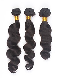 cheap -PANSY Weft Human Hair Extensions Loose Wave Human Hair Natural Color Hair Weaves / Hair Bulk Brazilian Hair Natural Black Women's Natural Black / 8A