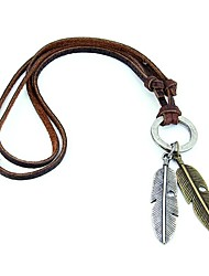 cheap -Women's Men's Statement Necklace Vintage Necklace Feather European Simple Style Leather Alloy Brown Necklace Jewelry For Party Casual Daily Sports / Pendant / Pendant