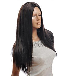 cheap -Synthetic Wig Straight Straight Asymmetrical Wig Long Black Synthetic Hair 25 inch Women's Natural Hairline Black