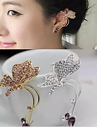 cheap -Women's Synthetic Diamond Ear Cuff Butterfly Animal Ladies Rhinestone Earrings Jewelry Silver / Golden For Wedding Party Daily Casual
