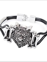 cheap -Lion Animal Vintage Party Work Casual Leather Leather Bracelet Jewelry Black For Party