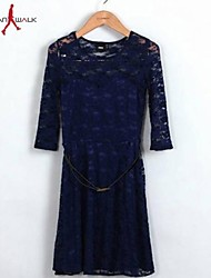 cheap -Women's Wine Navy Blue Dress Spring Work Solid Colored / Cotton