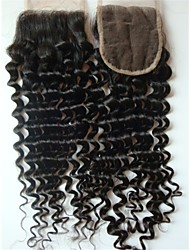 "cheap -10"" Brazilian Virgin Hair Curly Closure Pieces Lace Closure 4""x4"" Free Style 1Pc Natural Colour"