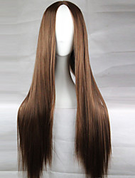cheap -Synthetic Wig Straight Style Asymmetrical Wig Dark Brown Synthetic Hair 28 inch Women's Natural Hairline Middle Part Brown Wig Long