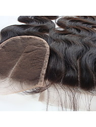 "cheap -4x4 Brazilian Virgin Hair Lace Top Hair Closure Body Wave 3 Part 12"" Natural Black 1Pc"