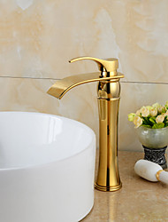 cheap -Widespread Waterfall Bathroom Sink Faucet Ti-PVD Widespread One Hole / Single Handle One HoleBath Taps