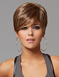 cheap -Synthetic Wig Straight Straight With Bangs Wig Short Brown Synthetic Hair 6 inch Women's Side Part Brown