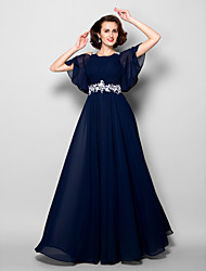 cheap -A-Line Jewel Neck Floor Length Chiffon Short Sleeve Mother of the Bride Dress with Criss Cross / Beading / Appliques 2020