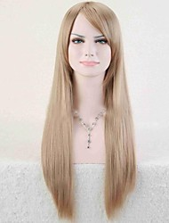 cheap -Synthetic Wig Straight Minaj Style Asymmetrical Wig Golden Light Blonde Synthetic Hair 25 inch Women's Natural Hairline Golden Blonde Wig Long