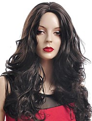cheap -Synthetic Wig Curly Style Asymmetrical Wig Brownish Black Synthetic Hair Women's Natural Hairline Black Wig Long