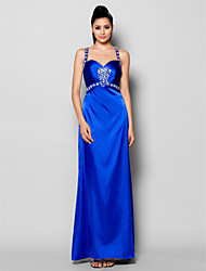 cheap -Sheath / Column Beautiful Back Formal Evening Dress Straps Sleeveless Floor Length Stretch Satin with Ruched Crystals Beading 2021