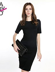 cheap -Women's Party Vintage Dress,Solid Above Knee Short Sleeves Polyester Spandex Spring Summer Fall Micro-elastic Opaque Thin