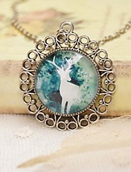 cheap -Fashion New Cute Cartoon Ancient Silver Deer Design Sweater Necklace