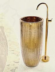 cheap -Bathtub Faucet - Antique Ti-PVD Floor Mounted Ceramic Valve Bath Shower Mixer Taps / Single Handle One Hole