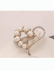 cheap -Women's Ladies Imitation Pearl Rhinestone Brooch Jewelry White For Daily