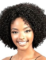 cheap -Synthetic Wig Curly Kinky Curly Loose Wave Kinky Curly Curly Asymmetrical Middle Part Wig Short Black Synthetic Hair 10 inch Women's Natural Hairline African American Wig Black